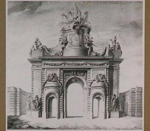 Feestdecoratie van 7 september 1745 van de Porte Saint-Martin te Parijs, stadszijde