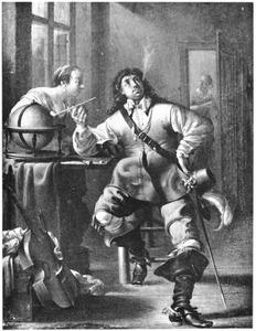 Rokende officier met een jonge vrouw in een interieur