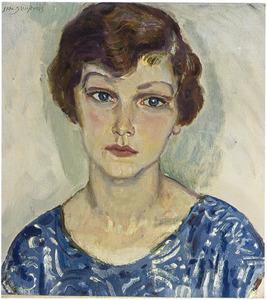 Portret van een vrouw in blauwe jurk