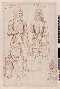 Studie van Lodewijk van Male en Boudewijn V van Vlaanderen; twee helmen met helmteken