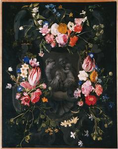 Gebeeldhouwde cartouche versierd met bloemen rondom een voorstelling van St. Anna-te-Drieën