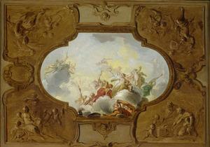 Ontwerp voor een plafondstuk met de apotheose van Aeneas, in de hoeken de vier jaargetijden