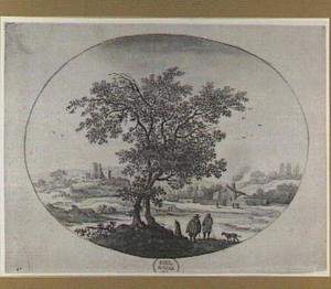 Landschap met twee bomen, rivier en ruïne