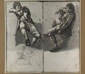 Twee studies van een zittende man en studie van een lezende man