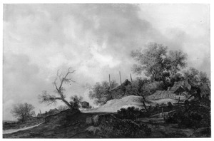 Landschap met rijtuig op een weg bij een boerderij met hooiberg, rechtsvoor twee figuren