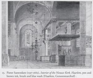 Interieur van de Nieuwe Kerk te Haarlem met de preekstoel