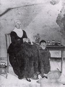 Dubbelportret van Angniesje van Twillert (1777-1868) en Gerritje Huijgen (1818-1891)