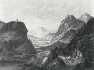 Berglandschap met een meer en rechts een herberg