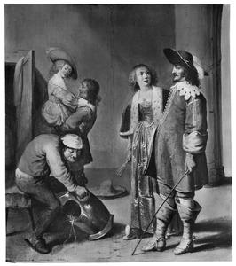 Wachtlokaal met twee officieren en twee jonge vrouwen, een knecht poetst een kuras
