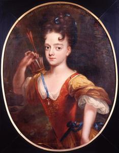 Portret van Louise Leopoldina van Nassau -Dietz (1695-1758) als Diana