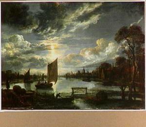 Nachtlandschap met schepen op rivier