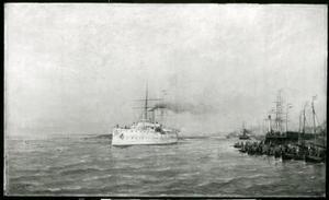 Hertog Hendrik vertrekt uit de haven van Nieuwe Diep