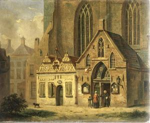 Het Gotiek portaal en het Brood- en Boterhuisje aan de zuidwestzijde van de Martinikerk te Groningen