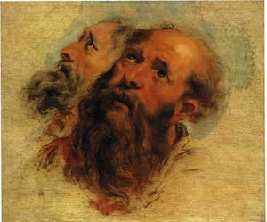 Studie van de hoofden van twee bebaarde apostelen