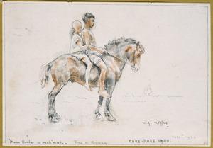 Main koeda - anak-anak moeda (jonge kinderen spelen met een paardje)
