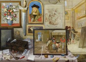 Gezicht in een kunstkabinet met doorzicht in een schildersatelier