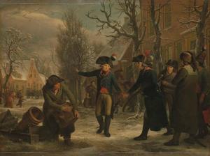 Generaal Herman Willem Daendels (1762-1818) neemt te Maarssen afscheid van luitenant-kolonel Cornelis R.T. Krayenhoff (1758-1840), die naar Amsterdam wordt gezonden om een omwenteling in het stadsbestuur te bewerkstelligen, op 18 januari 1795