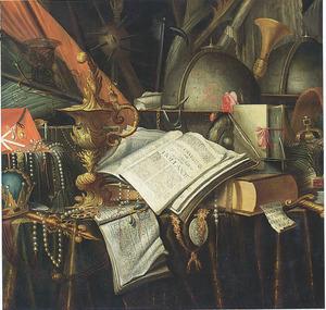 Vanitasstilleven met globes, boeken, pronkbeker en regalia