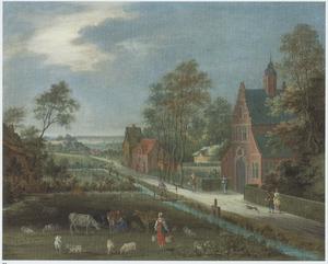 Dorpsgezicht met een melkmeid, vee en een weg langs een kerk