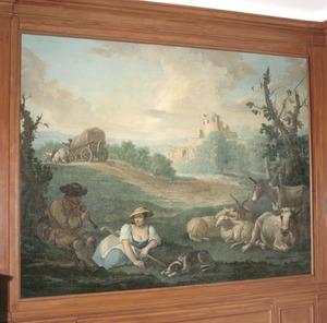 Herder en herderin in een arcadisch landschap