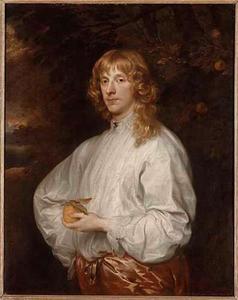 Portret van James Stuart, hertog van Lennox en Richmond , met een appel in de hand