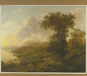 Zuidelijk landschap met twee halthoudende ruiters en een schaapherder