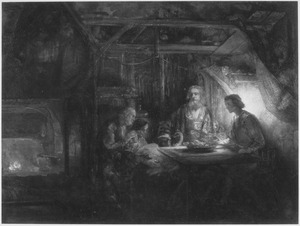 Philemon en Baucis bezocht door Jupiter en Mercurius (Ovidius, Metamorfoses 8, 630f)