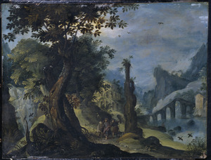 Berglandschap met de Emmaüsgangers