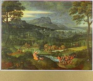 Landschap met scènes uit het leven van Simson: slapend in Delila's schoot (Richteren 16:19) en Simson scheurt de bek van de leeuw  (Richteren 14:5-6)
