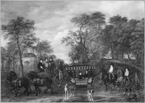 Cornelis de Graeff komt met zijn vrouw en zonen aan bij zijn buitenhuis Soestdijk