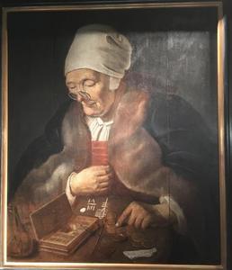 Geldtellende oude vrouw
