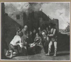 De aanbidding van de herders, met op de achtergond de verkondiging aan de herders