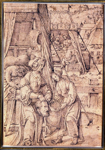 Judith en haar dienares stoppen Holofernes hoofd in een zak  (Judith 8-16)