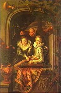Een jonge en een oude man met een rijk geklede jonge vrouw aan een venster