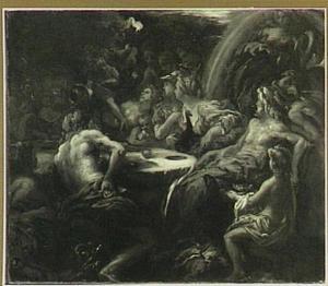Eris gooit de gouden appel van de tweedracht temidden der goden op de bruiloft van Peleus en Thetis