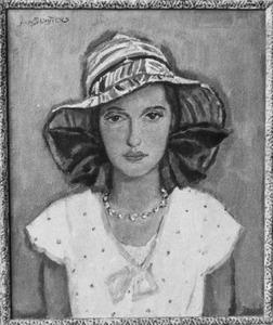 Portret van Lies, met linnen hoed