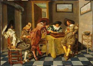 Vrolijk gezelschap van rokende, drinkende en triktrakspelende mannen in een interieur