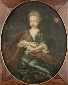 Portret van een meisje met een hondje, mogelijk kind van de familie Nahuys