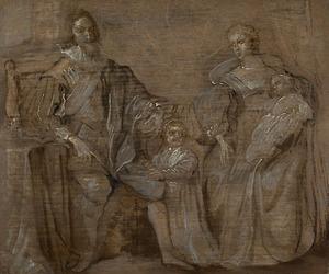 Koning Karel I van Engeland met koningin Henrietta Maria en hun oudste twee kinderen, prins Karel en prinses Maria