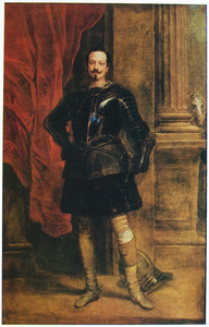Portret van koning Karel I met een page, staande ten voeten uit naast zijn paard