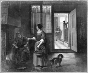Interieur met twee pratende vrouwen, een man en een hond