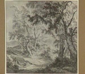 Boslandschap met rustende figuren
