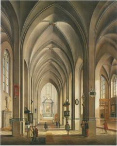 Interieur van een kathedraal interieur met figuren