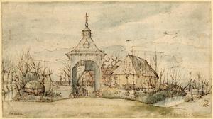 Landhuis omgeven door water met brug