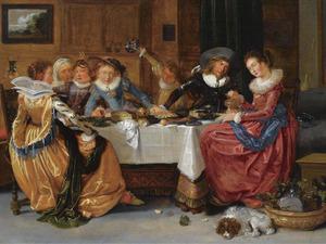 Interieur met elegant gezelschap aan tafel