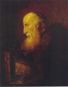 Oude joodse geleerde met boeken en globe