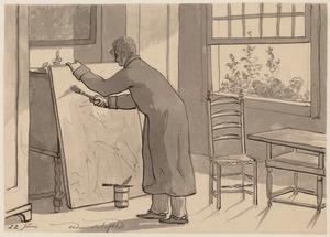 '22 junij onder schafttijd', Christiaan Andriessen bezig met het vernissen van een schilderij in zijn atelier op Amstel 95
