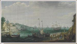 Gezicht in een baai met Verschillende schepen