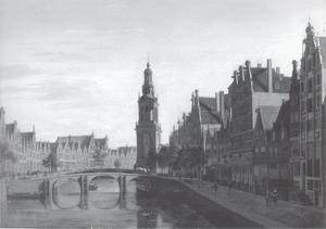 Gezicht op het Singel in Amsterdam met de Jan Rodenpoortstoren