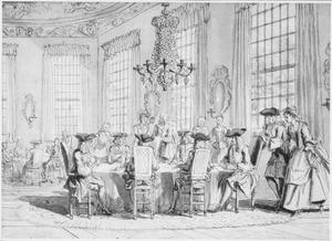 Interieur met schrijvende heren aan tafel en kaartende dames